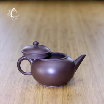 Small Purple Clay Shui Ping Teapot Back Lid Off View
