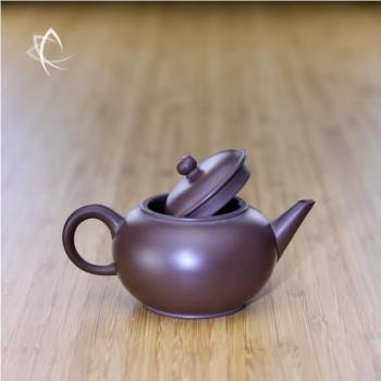 Small Purple Clay Shui Ping Teapot Back Lid Open View