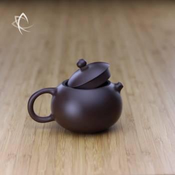 Small Xi Shi Purple Clay Teapot Lid Off View