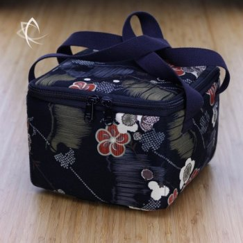 Insulated Square Tea Travel Tote Pack Black Frangipani Pattern
