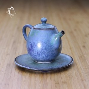 Sea Mist Lavender Taller Teapot with Plate 2 Angled View