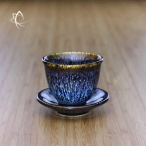 Blue Hare's Fur Tulip Cup and Saucer Set