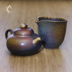 Ash Glazed Gourd Shaped Teapot with Tea Pitcher Featured View