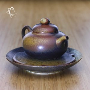 Ash Glazed Gourd Shaped Teapot with Tea Plate Featured View