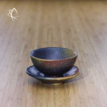 Ash Glazed Half Moon Tea Cup with Saucer Featured View