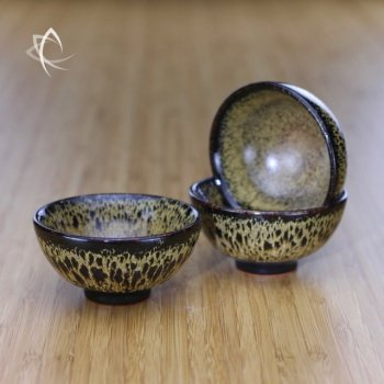Black Hare's Fur Half Moon Tea Cup Trio View