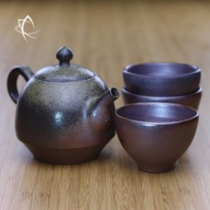 Wood Fired Moss-Green Bell Teapot and Wood Fired Bronze Everyday Tea Cup Set