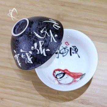 Hand Painted Luohan Tea Cup Detail of Outer Finish
