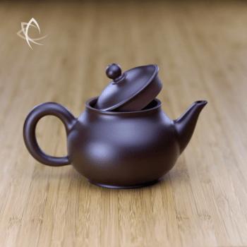 Hand Thrown Elegant Purple Clay Teapot Lid Open View