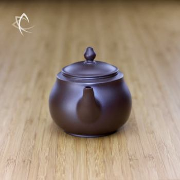 Hand Thrown Refined Purple Clay Teapot Spout View