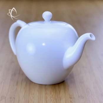 Large Mei Ren Jian Satin White Teapot Angled View
