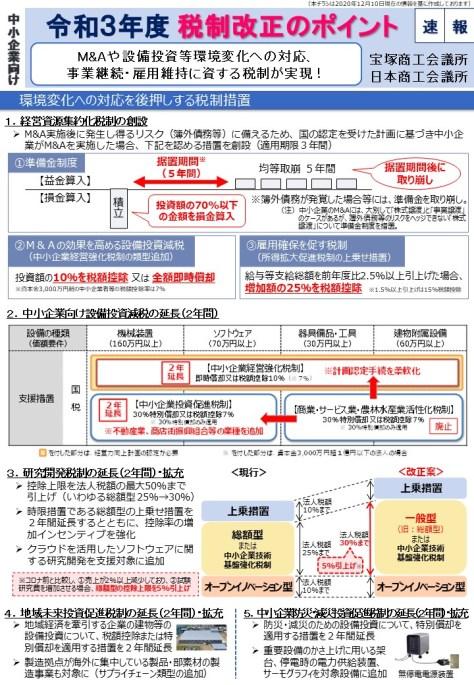 宝塚商工会議所 令和3年度税制改正のポイント