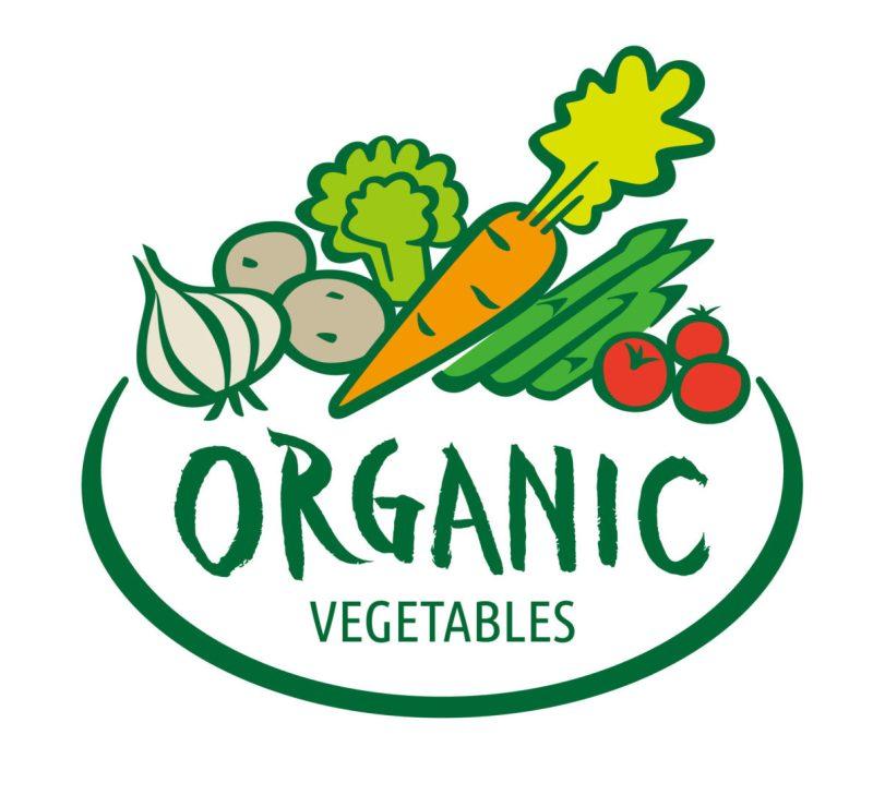 お野菜のロゴ:お野菜の絵と文字「Organic Vegetables」