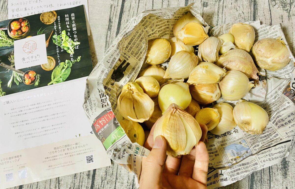届いたばかりの無農薬ジャンボニンニク1kg