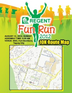 Regent Run 10K Route Map