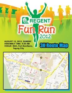 Regent Run 3K Route Map