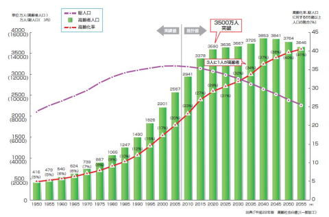 平成22年高齢社会介護グラフ