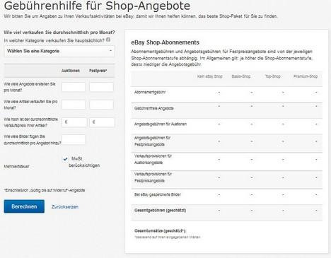 Gebührenhilfe für Shop-Angebote