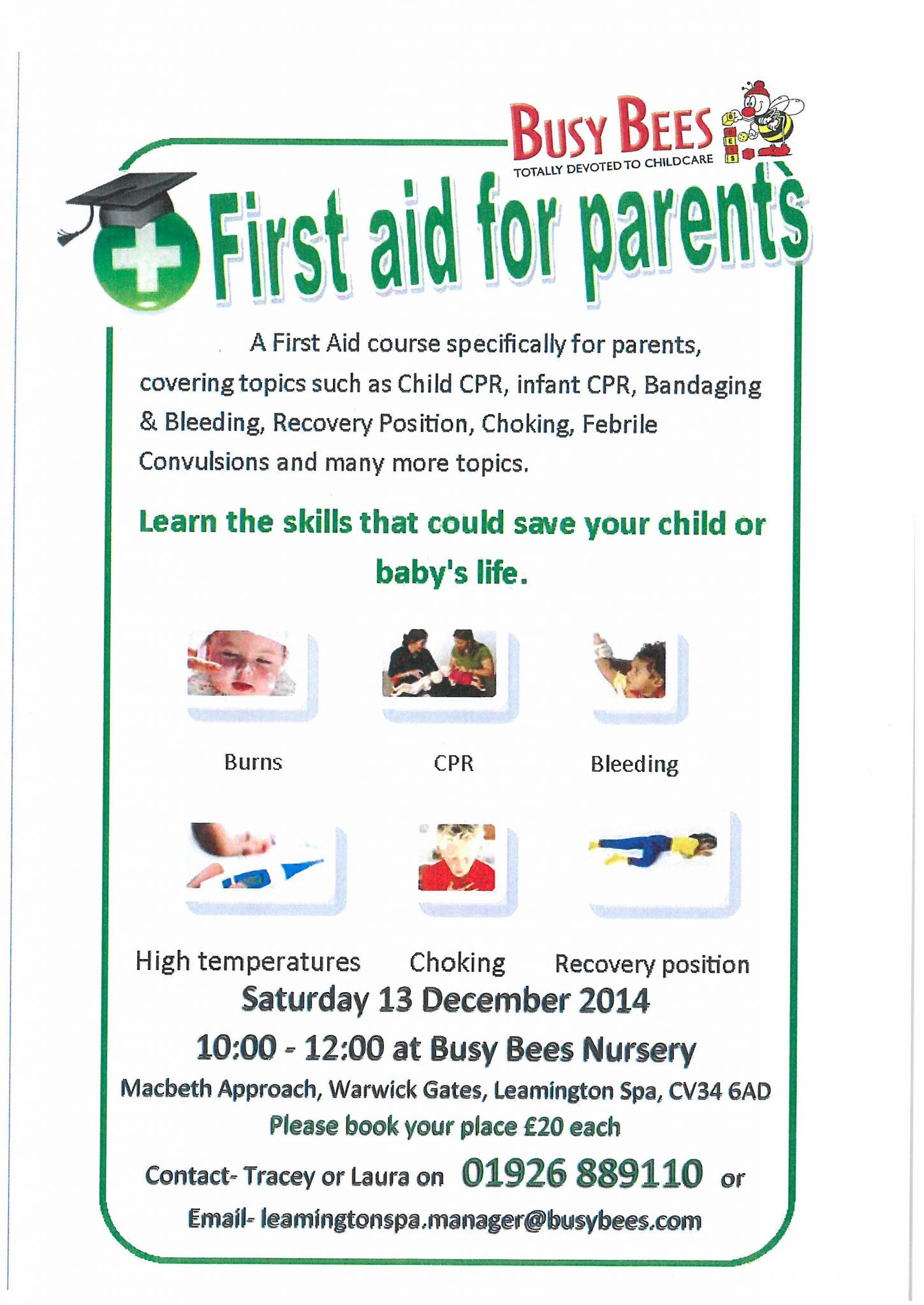 Baby And Child First Aid Course Saturday 13th Dec Amp Sat