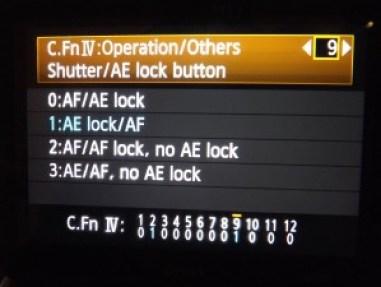 Canon camera setting screen