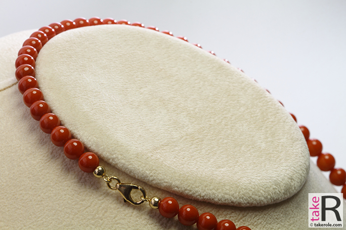 News Jewelry Extra Red Coral Necklace L Color round 6½-7mm in Gold 18K