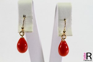 News Jewelry Red Coral Earrings Poire 8x13mm