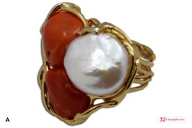 Etruscan Red Coral Pearl Ring 925 Gold Plated Silver [multiple choice]