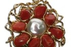 Etruscan Red Coral Pearl Pendant 60x50mm 925 Gold Plated Silver