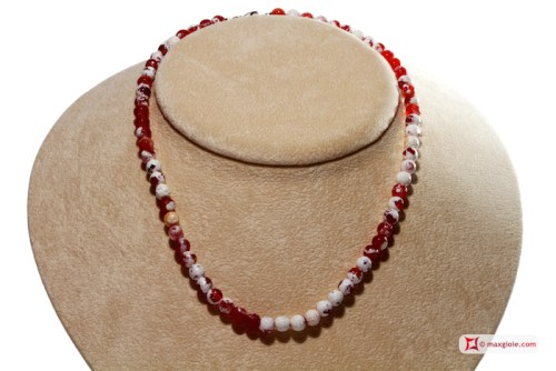 Extra Fire Agate Necklace red 6mm faceted in Silver
