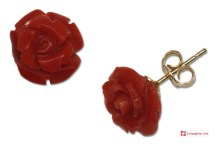 Extra Red Coral Earrings rose 10mm in Gold 18K [various clasps]