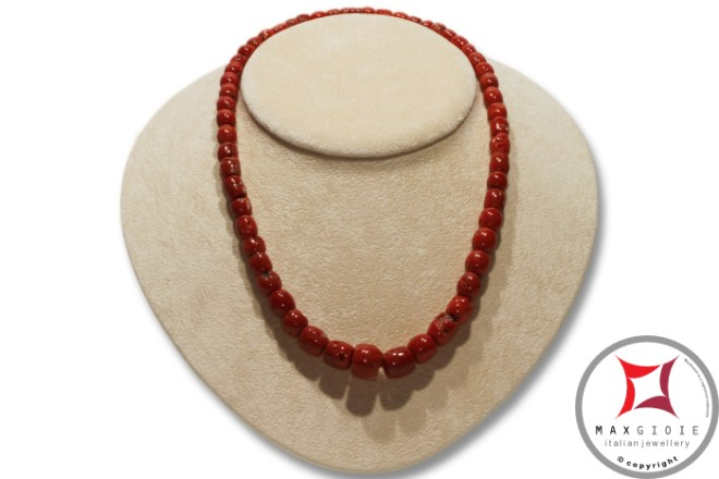 Collana Corallo rosso del Mediterraneo barilotti graduati 5-11mm in Oro 18K