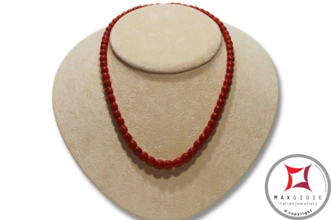 Mediterranean Red Coral Necklace snake barrel 6-8mm graduated in Gold 18K