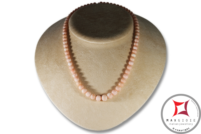 Extra Pink Coral Angel Skin Necklace round beads 6-9mm in Gold 18K