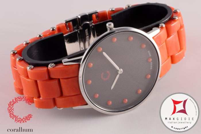 Corallium Watch 40mm Swiss movement with coral id00