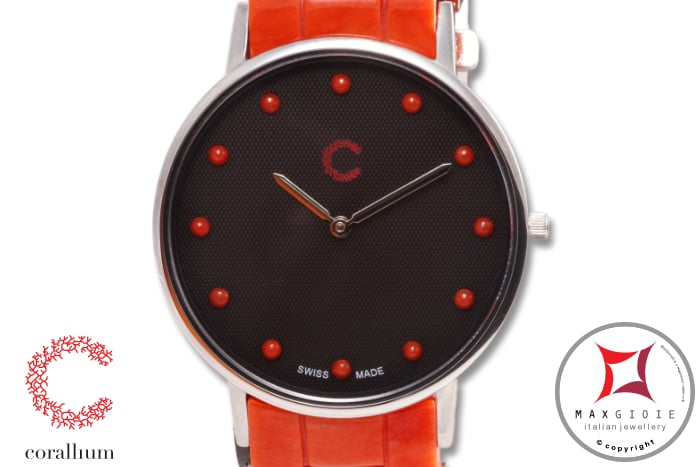 Corallium Watch 40mm Swiss movement with coral id00m