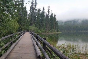 Easy and assessible walk at Pyramid Lake Island in Jasper National Park