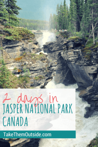The deep canyon waterfall of Athabasca Falls, text reads 2 days in Jasper National Park
