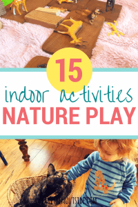 children's plastic animal toys and blocks and a young toddler petting a house cat. text reads 15 indoor activities, nature play