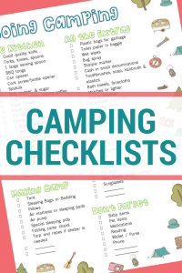 image of a printable camping checklist, text reads camping checklists