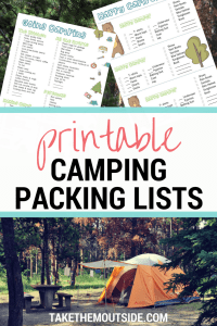 an orange tent in a wooded campsite, text reads printable camping packing lists
