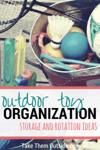 Metal buckets full of outdoor kids toys, text reads outdoor toy organization