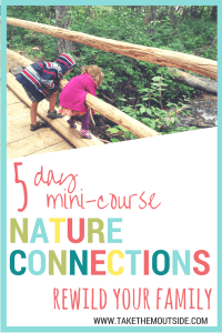 kids leaning over a wooden bridge to look at the creek below. text reads: 5 day mini-course nature connections, rewild your family