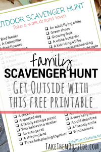 image of a printable nature scavenger hunt, text reads family scavenger hunt, get outside with this free printable
