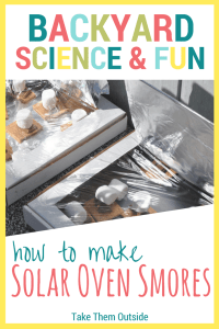smores cooking in pizza box solar ovens. text reads backyard science and fun, how to make solar oven smores