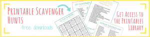 printable scavenger hunts, text reads nature scavenger hunts