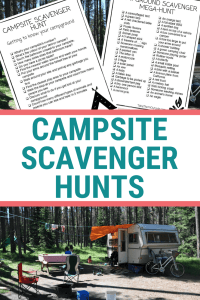 a camper at the campground and image of printed campsite scavenger hunts, text reads campsite scavenger hunts