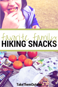 a girl eating an orange and various other hiking snack options, text reads family favorite hiking snacks
