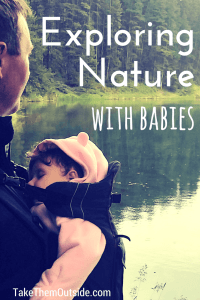 A baby wearing a pink bunting sleeping while dad wears her in a baby carrier, text reads exploring nature with babies