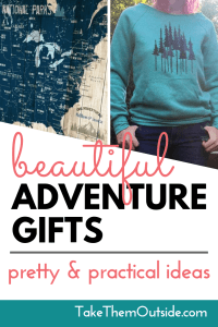 a national park map and a forest top, text reads beautiful adventure gifts