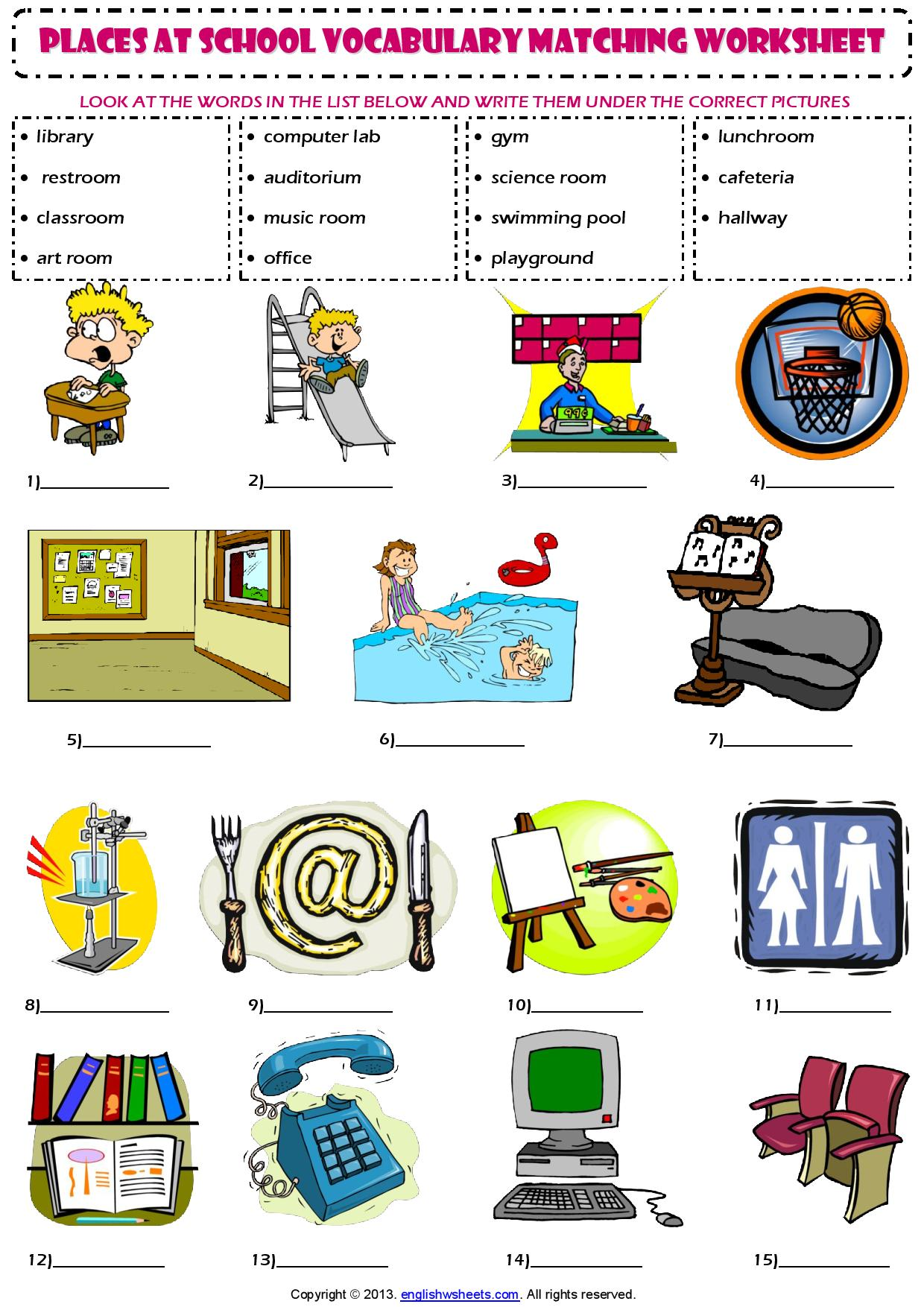 Places At School Vocabulary Matching Exercise Worksheet